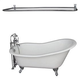 "Griffin 61"" Cast Iron Slipper Tub Kit - Polished Chrome Accessories - White"