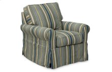 Sunset Trading Horizon Slipcovered Swivel Chair in Nantucket Stripe