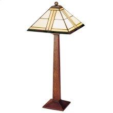 Art Glass Shade, Oak Square Base Table Lamp