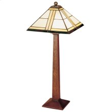 Art Glass Shade, Oak Square Base Table Lamp