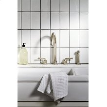 Henry Three Hole Gooseneck Kitchen Faucet, Metal Lever Handles and Spray STYLE: HNKM30