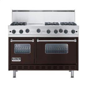 "Chocolate 48"" Open Burner Commercial Depth Range - VGRC (48"" wide, six burners 12"" wide griddle/simmer plate)"