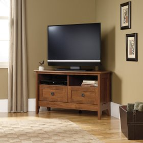 Oak Finish Corner TV Stand