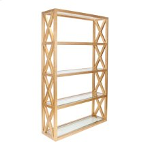 Gold Leaf Crosshatch Etagere With Five Clear Glass Shelves.