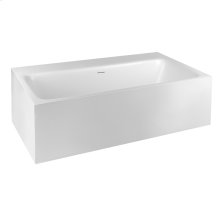 """Freestanding bathtub in Cristalplant® Matte white L 70-7/8"""" W 36-3/8"""" H 21-5/8"""" Side ledge Possible tap mounting on the ledge (not accessible) Waste included CSA certified Please check if the capacity load of the slab is in comformity with the specifications Please contact Gessi North America for freight terms"""