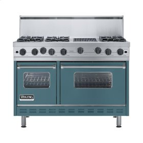 "Iridescent Blue 48"" Open Burner Range - VGIC (48"" wide, six burners 12"" wide char-grill)"