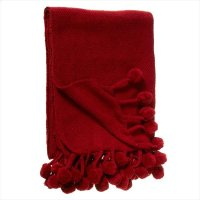 Red Throw with Pom-Poms. Product Image