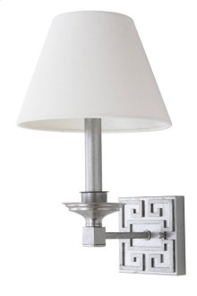 Elvira Silver 15-inch H Greek Key Wall Sconce - Silver Shade Color: Off-White