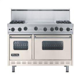 """Oyster Gray 48"""" Open Burner Range - VGIC (48"""" wide, four burners 24"""" wide griddle/simmer plate)"""