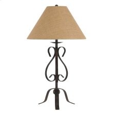 150W 3 Way Ekalaka Wrough Iron Table Lamp With Burlap Shade