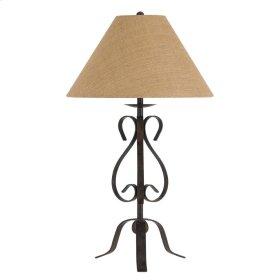 150W 3 Way Ekalaka Wrough Iron Table Lamp With Burlap Shade