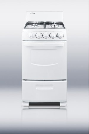 "White Pearl gas range with electronic ignition and sealed burners in slim 20"" width"