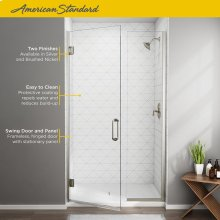Frameless Swing Shower Door and Panel - 46x47  American Standard - Brushed Nickel