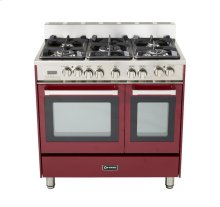 "Burgundy 36"" Dual Fuel Convection Range with Double Oven"