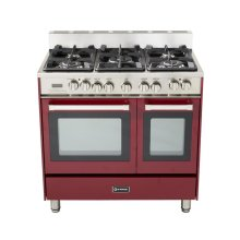"36"" Dual Fuel Single Oven Range Burgundy"