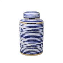 "Striped White/blue/gold Jar 12"""