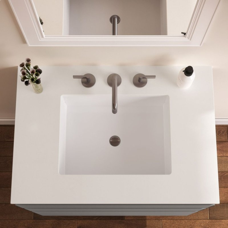 . Curated Cartesian 30  X 15  X 21  Two Drawer Vanity In White Glass With  Slow close Plumbing Drawer  Full Drawer and Engineered Stone 31  Vanity Top  In