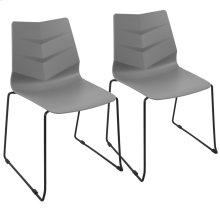 Arrow Sleigh Chair - Set Of 2 - Black Metal, Grey Polypropylene