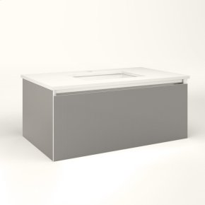 """Cartesian 36-1/8"""" X 15"""" X 21-3/4"""" Single Drawer Vanity In Silver Screen With Slow-close Plumbing Drawer and No Night Light"""