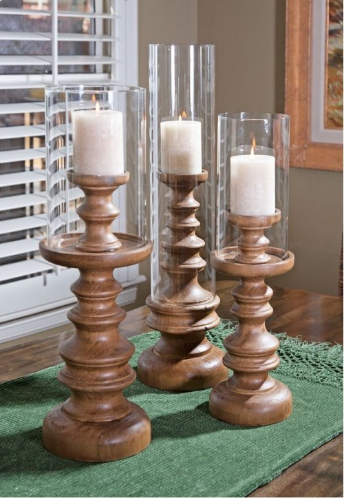 Bailey Wood Candleholders - Set of 3