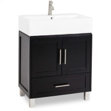 "28"" vanity with Espresso finish, satin nickel hardware and an oversized vessel bowl/top."