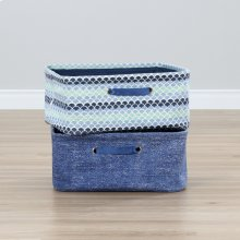 Nightstand Baskets, 2-Pack - Blue Scales and Chambray