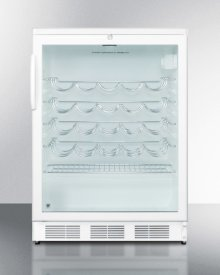 Commercially approved under-counter wine cellar for built-in use in white finish with glass door