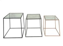 S/3 Multi Metal Accent Tables,glass Top