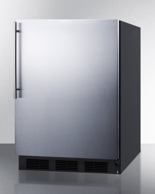 ADA Compliant All-refrigerator for Freestanding General Purpose Use, Auto Defrost W/ss Door, Thin Handle, and Black Cabinet