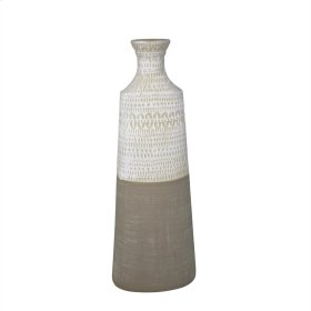 "Ceramic 17.25"" Tribal Vase, Beige"