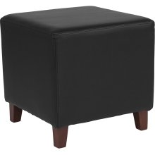 Ascalon Upholstered Ottoman Pouf in Black Leather