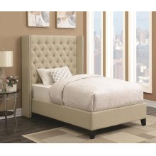 Benicia Beige Upholstered Twin Bed