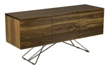 Walnut Classic Contemporary Buffet, No Hardware 2 Drawers, 2 Doors, 1 Adjustable Shelf Behind Each Door Zen Chrome Base