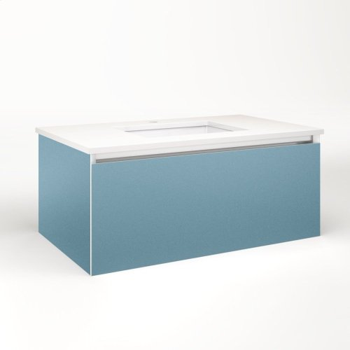 """Cartesian 36-1/8"""" X 15"""" X 21-3/4"""" Slim Drawer Vanity In Ocean With Slow-close Plumbing Drawer and Selectable Night Light In 2700k/4000k Temperature (warm/cool Light)"""