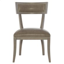 Delancey Leather Dining Side Chair in Smoke
