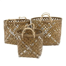 S/3 Woven Round Baskets, Brown