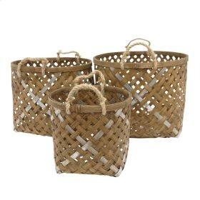 S/3 Woven Round Baskets, Brown