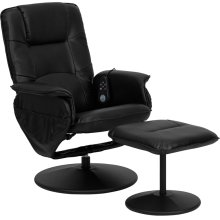 Massaging Multi-Position Recliner with Deep Side Pockets and Ottoman with Wrapped Base in Black Leather