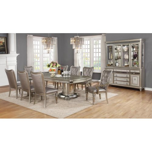 Danette Metallic Seven-piece Double Pedestal Dining Set
