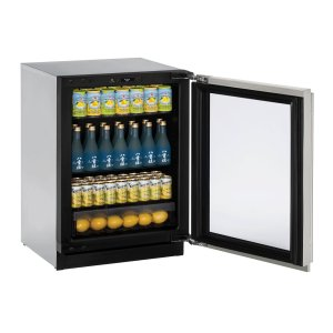 "U-Line Modular 3000 Series 24"" Glass Door Refrigerator With Stainless Frame (Lock) Finish And Left-Hand Hinged Door Swing (115 Volts / 60 Hz)"
