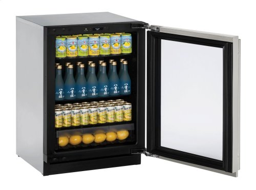 """Modular 3000 Series 24"""" Glass Door Refrigerator With Stainless Frame (lock) Finish and Left-hand Hinged Door Swing (115 Volts / 60 Hz)"""