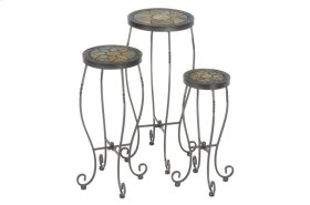 Sagrada Rnd Plant Stands w/ Ceramic Tile Top, Iron Base - S/3