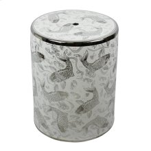 White/silver Koi Ceramic Garden Stool