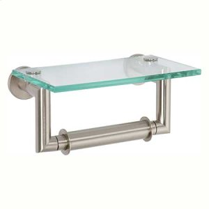 Satin Nickel Double Post Toilet Tissue Holder with Cover
