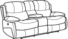 Amsterdam Leather Power Reclining Loveseat with Console