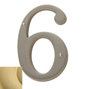 Satin Brass House Number - 6