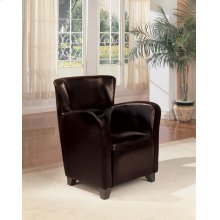 Transitional Dark Brown Faux Leather Accent Chair