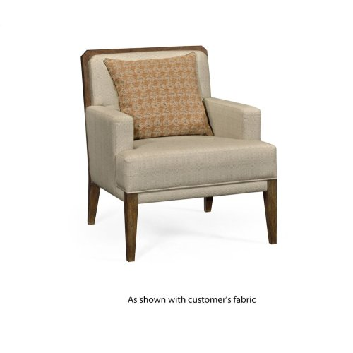 Light Brown Oak Occasional Chair, Upholstered in COM