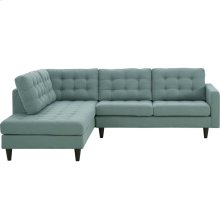 Empress 2 Piece Upholstered Fabric Left Facing Bumper Sectional in Laguna