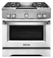 36'' 4-Burner with Griddle, Dual Fuel Freestanding Range, Commercial-Style - Imperial White